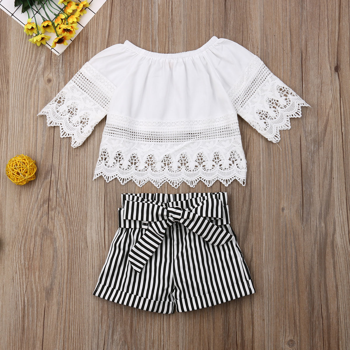 Pudcoco Toddler Baby Girl Clothes Solid Color Lace Flower Ruffle Long Sleeve Tops Striped Short Pants 2Pcs Outfits Clothes