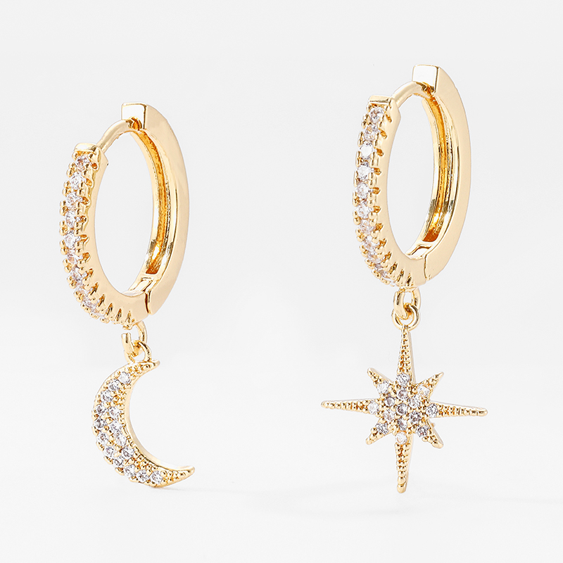 Trendy Cubic Zircon Silver Star Moon Earrings Small Crystal Drop Earrings For Women Korean Hoop Jewelry 2019 Pendientes Aro