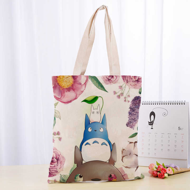 Kualitas tinggi C4115 Totoro Kanvas Tote Tas Fashion Tahan Lama Wanita Mahasiswa Katun Linen Tas Dicetak Belanja Tas Custom logo
