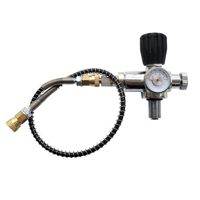 Scuba Diving Valve Air Filling Station Refill Adapter With 36mm 400 Bar, 6000 Psi Pressure Gauge 60cm High Pressure Hose M18X1.5