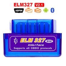 цена на Super Mini ELM327 OBD2 Bluetooth V1.5 V2.1 Car Diagnostic Tool ELM 327 V1.5 OBD 2 Scanner Work Android Windows 12V Diesel