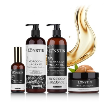 Hair Care 4pcs Lonstin 500ml Profissional Natural Shampoo and Deep Conditioner+300ml Argan Oil For Hair Mask+100ml Argan Oil natural hair shampoo 4pcs 500ml professional natural daily shampoo deep conditioner argan oil hair mask argan essential oil