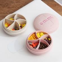 Mini Pill Box Portable Circular 5 Grids Medicine Case Travel Dispensing Storage 20