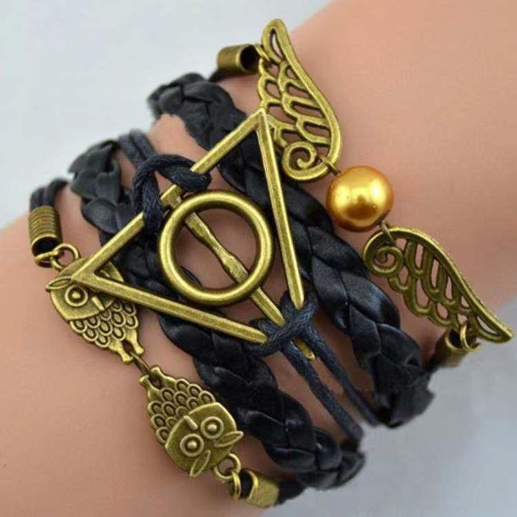 Harri Potter Death Hallows HP Action Figure Retro Leather Cord Bracelet Golden Snitch Wings Owl Triangle Multilayer Bracelet
