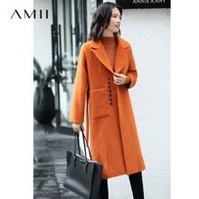 Amii Minimalistische Revers Dikke Wollen Jas Winter Vrouwen Losse Solid Pocket Vrouwelijke Mid Lange Jas 11870394