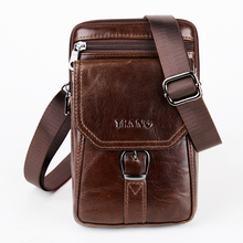 Genuine Leather Mens Messenger 7 Inch Mobile Phone Pouch Natural Cowhide Small Shoulder Bags Vintage Male Fanny Waist Packs