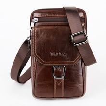 Pochette pour téléphone portable en cuir véritable pour hommes, pochette pour téléphone portable en cuir de vache naturelle, petits sacs à bandoulière Vintage, taille banane