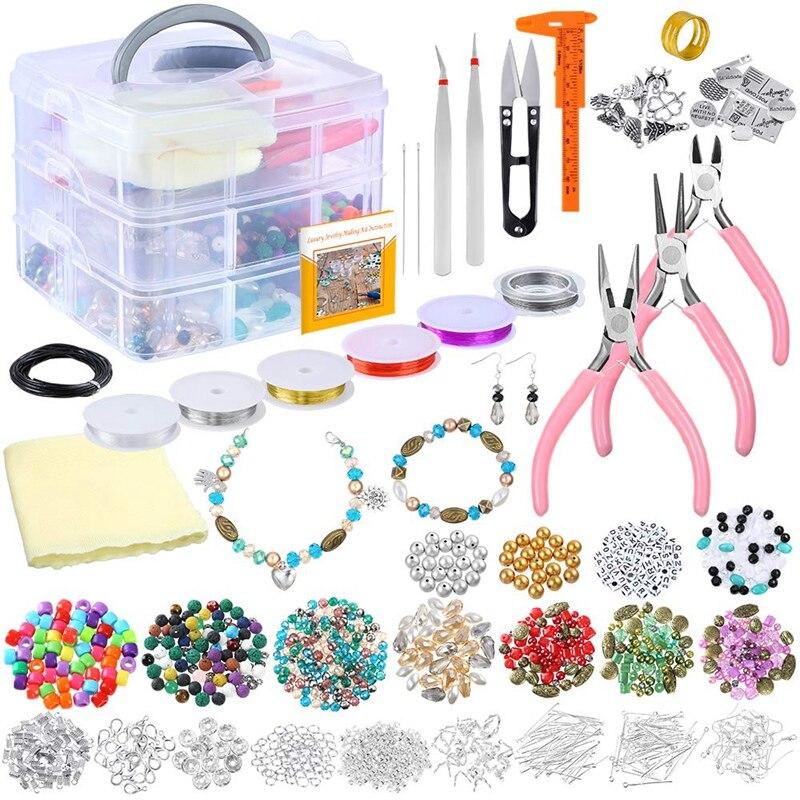 Kit de fournitures de fabrication de bijoux de luxe perles assorties, breloques, trouvailles, fil et cordon de perles, pinces, étrier et mallette de rangement pour Ne