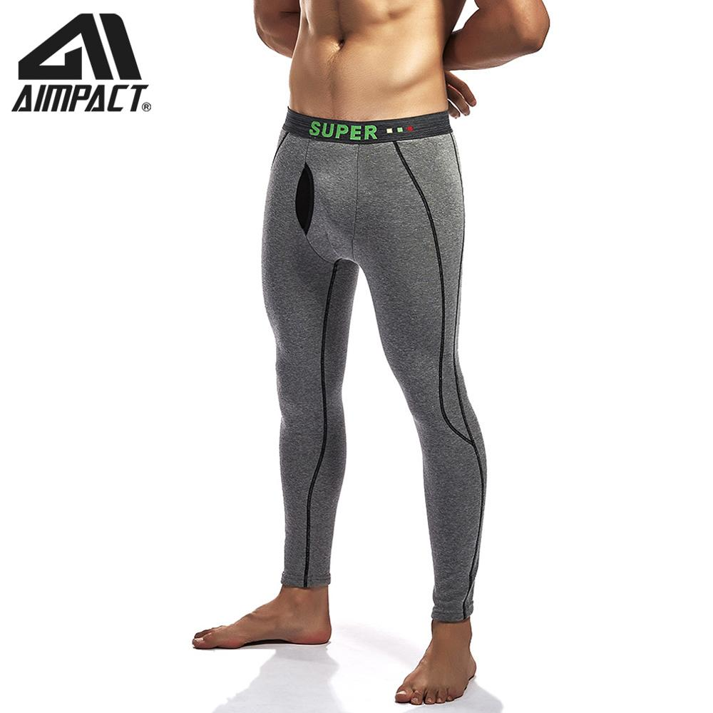 Mens Long Thermal Leggings Cotton Pants Underwear Keep Warm Running Sport Fitness Workout  Compression Pants By AIMPACT  AM5130