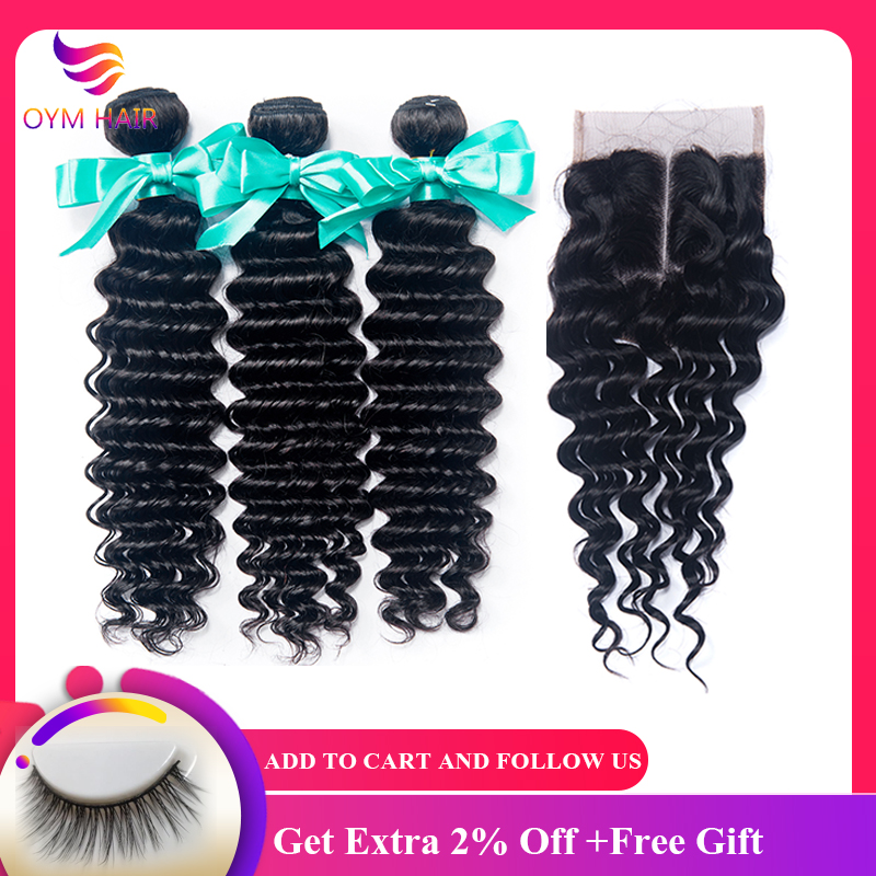 OYM HAIR 4PCS/LOT Peruvian Deep Wave Hair 3 Bundles With Closure Non-Remy Double Weft Human Hair Bundles With Lace Closure