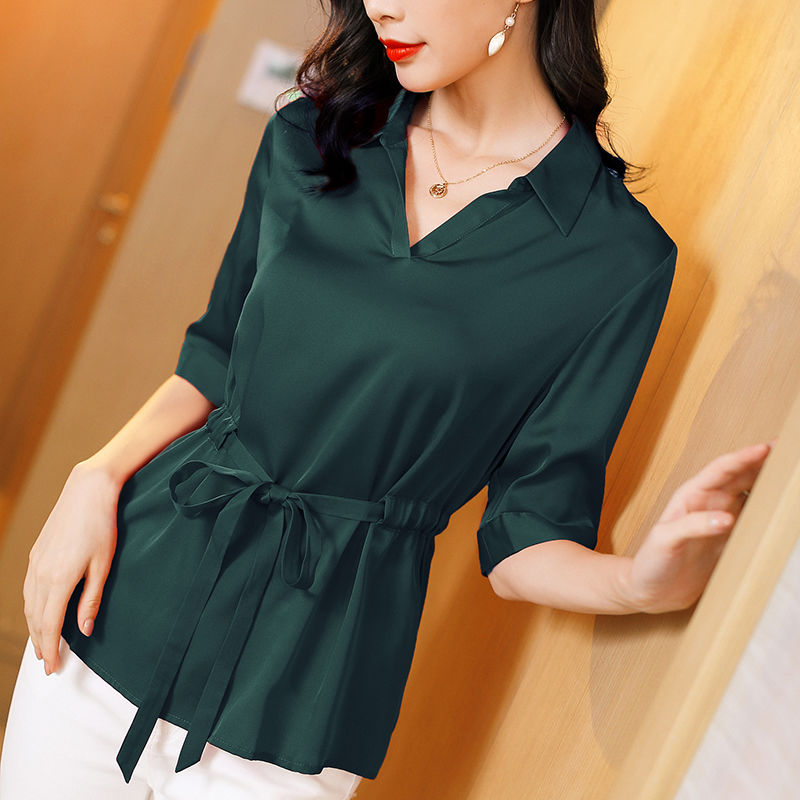 New Women's Spring Autumn Blouses Fashion Long Sleeve Solid Color Women's Turn-down Collar Bow Office Women's Tops DF3214