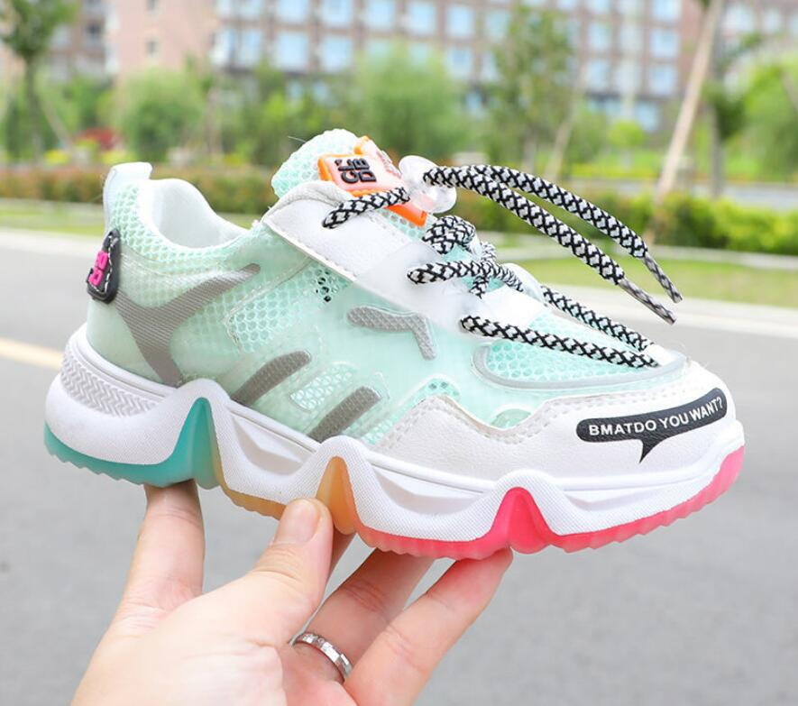 2020 New Boys And Girls Fashion Rainbow Solid Bottom Sneakers Children Middle School Students Breathable Running Shoes
