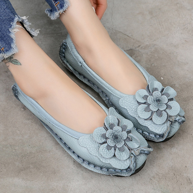 Ethnic Women Loafers Genuine Split Leather Flat Heels Flower Round Toe Soft Solid Sandals Platform Ladies Shoes Zapatos De Mujer