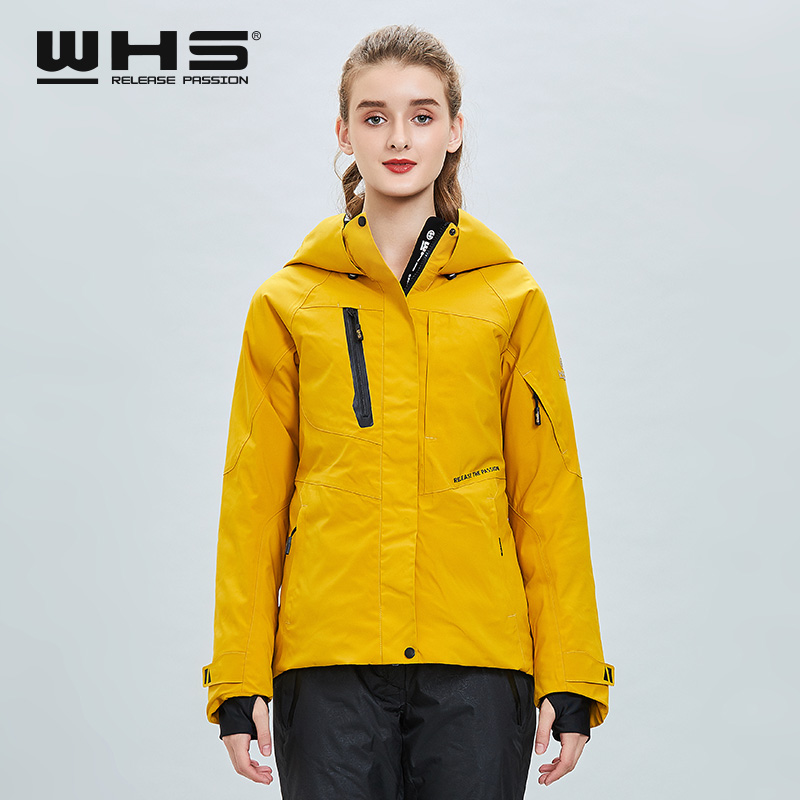 WHS модный однотонный лыжный костюм женская верхняя куртка теплая ветрозащитная Водонепроницаемая хлопковая стеганая куртка Одиночная сно...