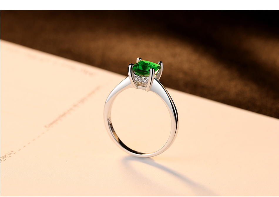 CZCITY Emerald Simple Female Zircon Stone Finger Ring 925 Sterling Silver Women Jewelry Prom Wedding Engagement Rings Brand Gift H50be2f9190524018ad1015aab2fd416fT ring