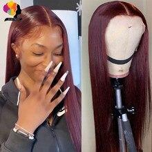Cabelo reto peruano 13x1 peruca dianteira do laço perucas de cabelo humano 99j vermelho borgonha pré-arrancado 180% remy cabelo humano parte profunda perucas