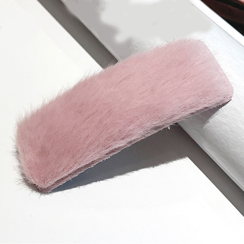 1 шт. искусственный мех капли квадратные заколки для волос шпильки с плюшевыми шариками осень зима мягкие однотонные заколки аксессуары для волос Зажимы для челки - Цвет: 24