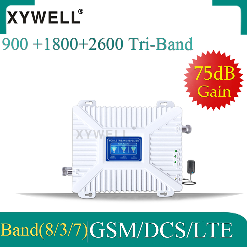 XYWELL 4g Cellular Signal Booster GSM 900MHz+DCS/LTE 1800(B3)+FDD LTE 2600(B7) Cell Phone Signal Repeater Cellular Amplifier