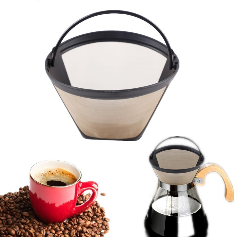 Washable Reusable Permanent Coffee Filter Cone Shape Golden Mesh Handle Cafe Coffee Maker Machine Tea Tool Funnel Coffee Filter