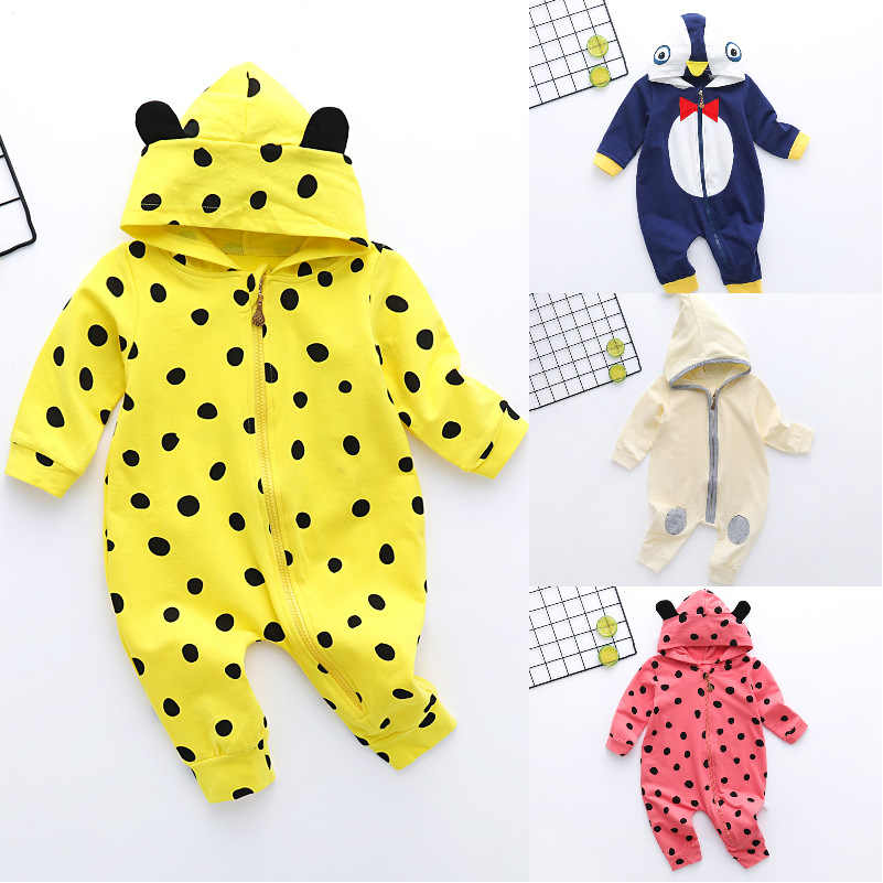Infant jumpsuit spring autumn romper baby girl boy cotton suit newborn climbing cartoon Hooded rompers cheap stuff baby products