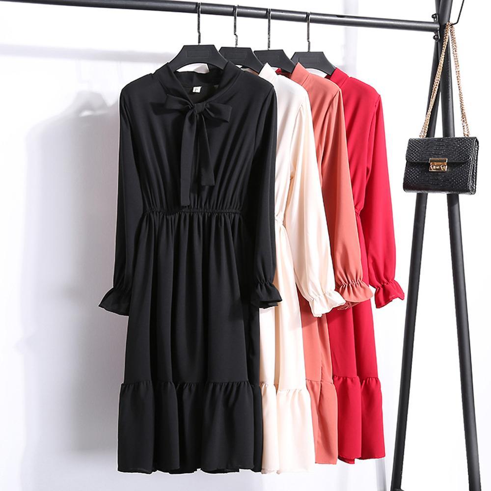 2020 Autumn Women Long Dress Casual Chiffon Bow Elegant Maxi Dress Solid Color Long Sleeve Elastic Waist Bandage Dress Vestidos