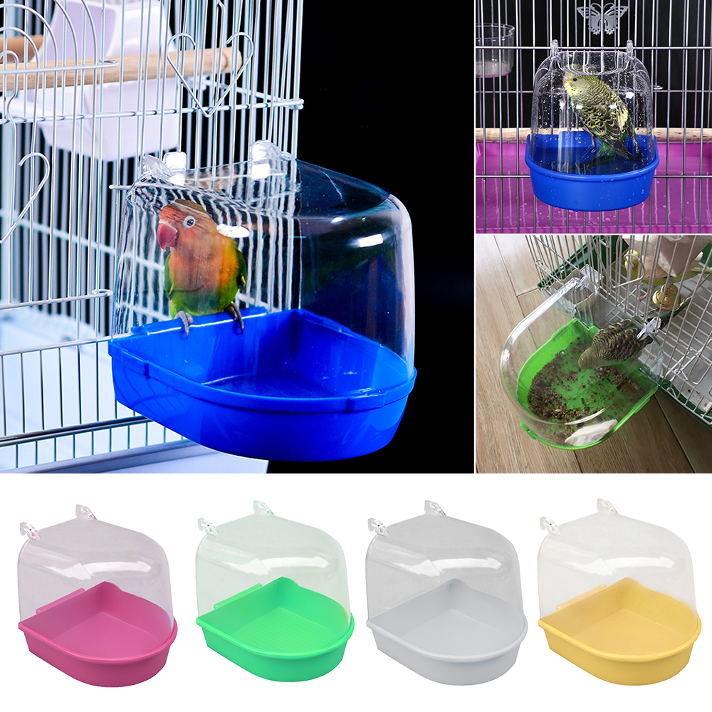 Plastic Bird Water Bath Box Bathtub Parrot For Parakeet Lovebird Bird Pet Cage Hanging Bowl Parakeet Birdbath Hanging Accessory