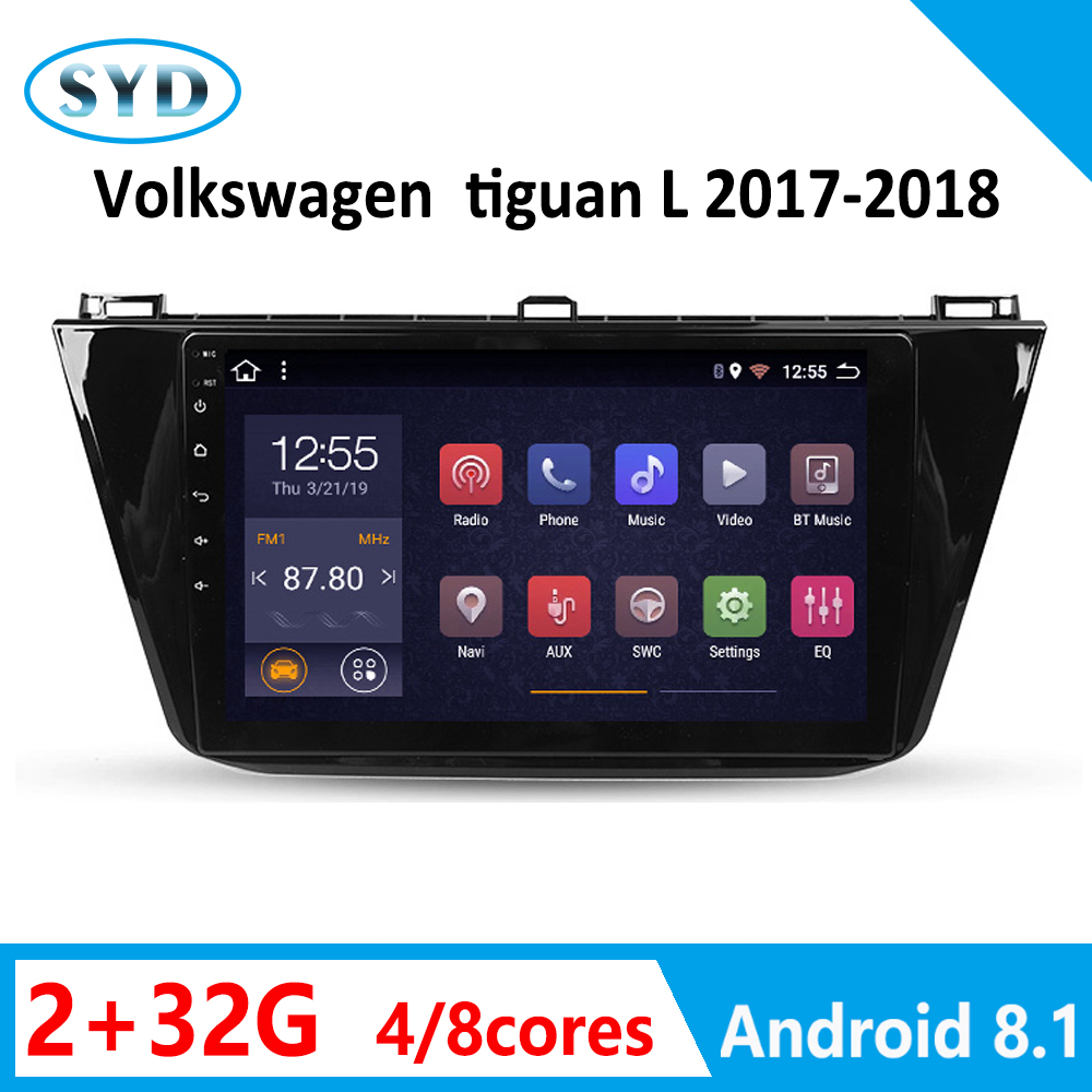 DVD multimedia for auto Volkswagen tiguan L android car radio player 2017 2018 8 core 2 32G 1 din mirror link GPS Navi carplay image