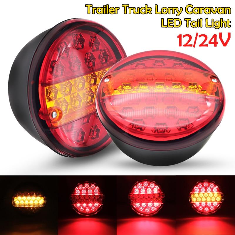 2pcs 12V 24V Universial 20 Led Car Tail Trailer Lights Truck Caravan Taillight Rear Brake Stop Indicator Turn Signal Lamp Round