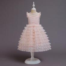 Летнее платье принцессы, детское многослойное кружевное фатиновое платье для маленьких девочек, элегантные наряды принцессы с юбкой-пачко...