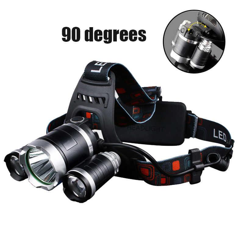 Farol 90 graus de alta iluminação led cabeça lâmpada 4 modo xml t6/r5 led farol acampamento pesca tocha
