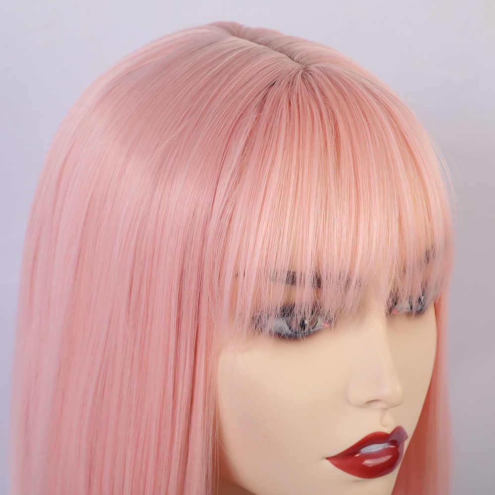 Loira unicórnio sintético em linha reta curto bob perucas com franja ouro branco roxo rosa verde marrom peruca cosplay para feminino