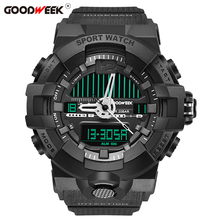 GOODWEEK Military Waterproof Male Sport Watch Analog Digital Multifunctional Watch Rubber Dual Display Watches Relogio Masculino