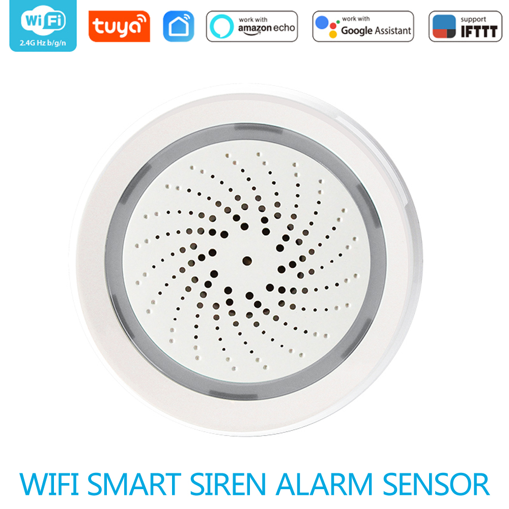 WiFi Siren Alarm Sensor Smart Wireless Siren Alarm Sensor USB Power Via IOS Android Smart Life  APP Notification Plug And Play