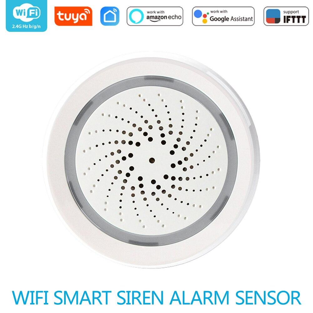 WiFi Siren Alarm Sensor Smart Wireless Siren Alarm Sensor USB Power Via iOS Android Smart Life  APP Notification Plug And Play