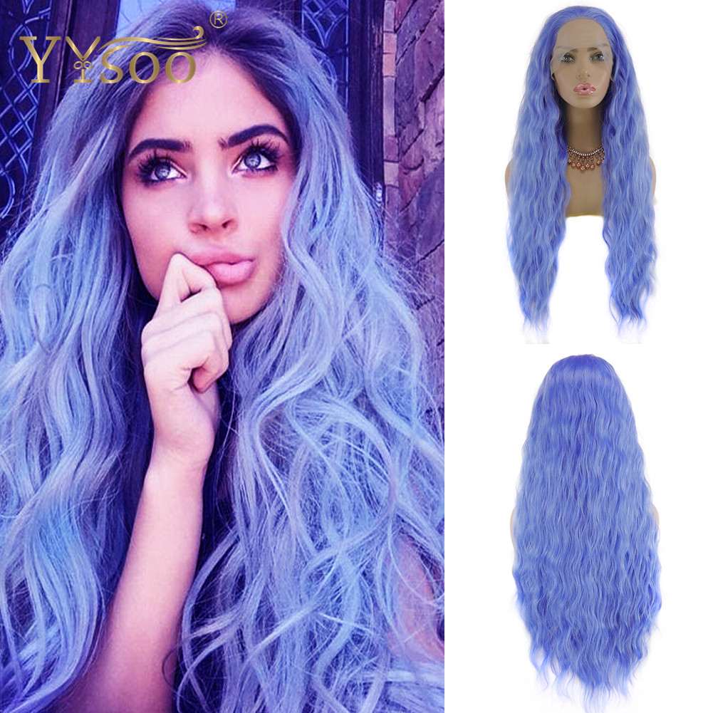 YYsoo Long Blue Synthetic Lace Front Wigs For Fashion Women13X4 Glueless Loose Wave Blue Wig Half Hand Tieds Heat Resistant Wig