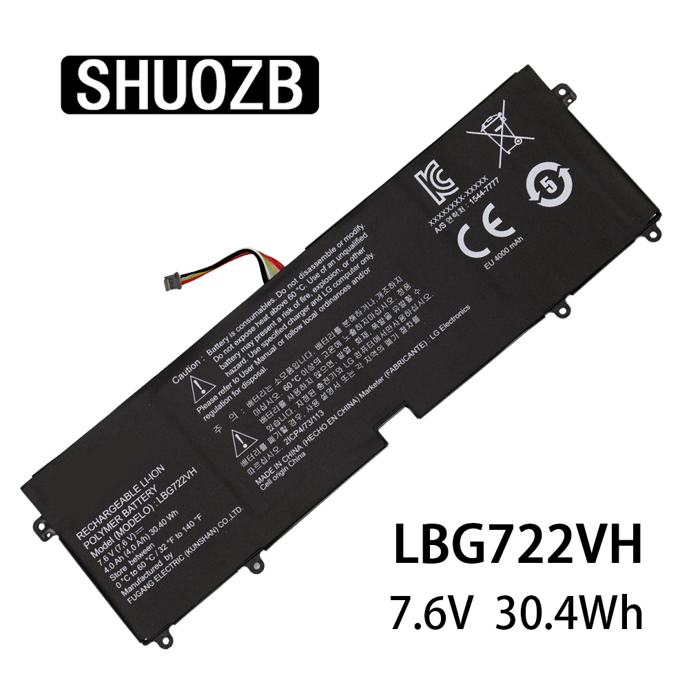 Laptop Battery LBG722VH For LG 13Z940 14Z950 EAC62198201 13ZD940 14ZD960-GX5GK EAC621982 7.6V 30.4Wh 4000mAh Free Shipping
