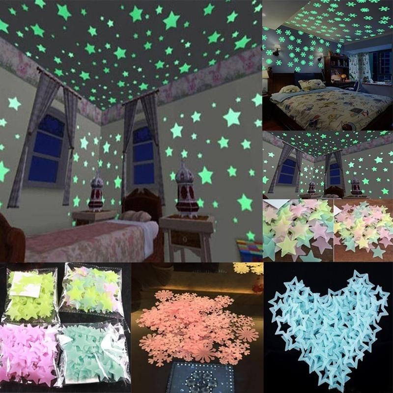 100pcs 3D Stars Fluorescent Glow Stickers Kids Bedroom Stars Glow In The Dark Wall Stickers Children Handmade Luminous Toys