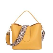 Moda kadın omuz çantaları yılan desen geniş kayış çanta 2 adet/takım bayanlar çanta PU deri kompozit çanta kızlar Crossbody çanta