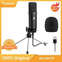 MAONO USB micrófono Podcast micrófono de condensador de 192kHz/24bit micrófono profesional, con soporte del trípode para el ordenador de Youtube