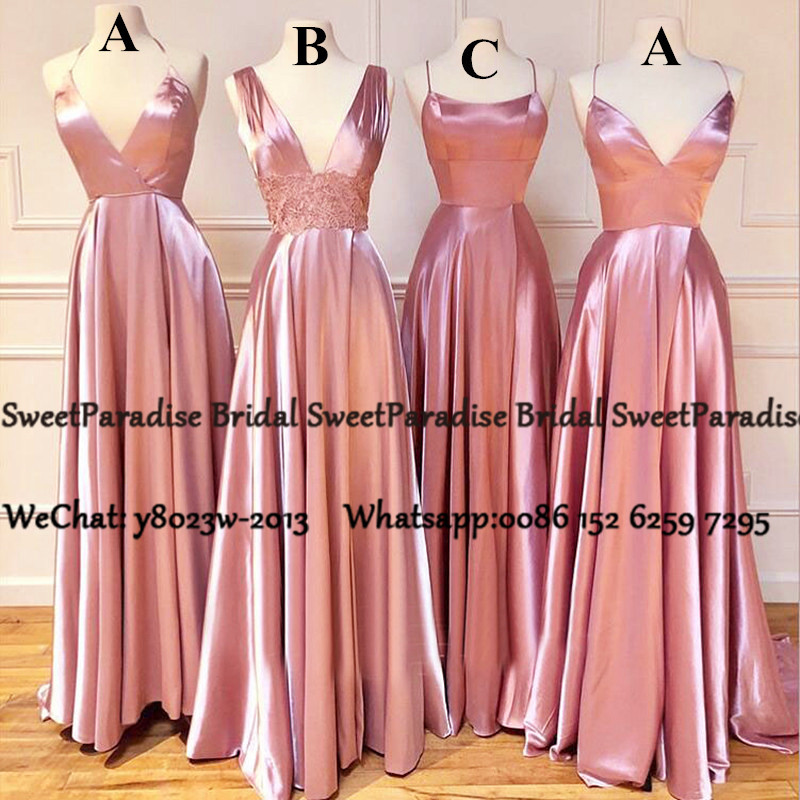 Pink Satin A Line Bridesmaid Dresses Long 2020 Sukienki Na Wesele Damskie Designer Wedding Party Dress Prom For Women