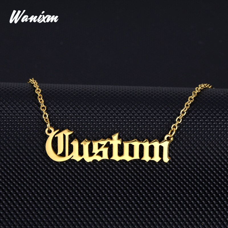 Personalized Name Necklace ,Customized Nameplate Necklaces Custom Stainless Steel , Old English Style Personalized Jewelry Gifts(China)