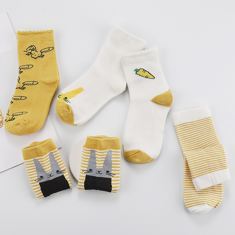 5 Pairs//Set Lovely Kids Socks Pure Cotton Short Socks Winter Autumn Warm Socks