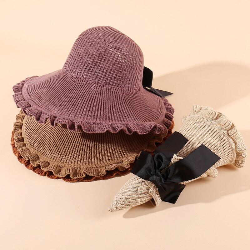 New Autumn Beach Wide Brim Women Summer Outdoor Sport Solid Color Cap Hat Foldable Garden Working Sea Sun Proof Girls Big Bow