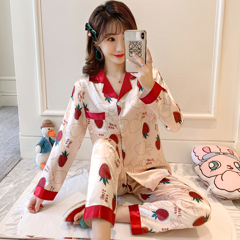 M-2XL Women Silk Pajamas Set 2020 Spring Summer New Style Long Sleeve&Pants Girl's Pyjamas Smooth Comfortable Night Sleepwear