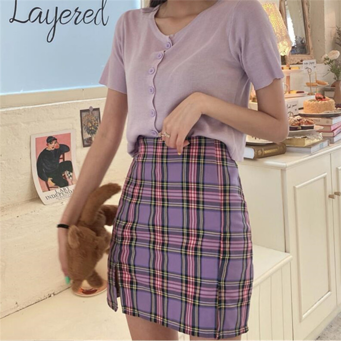 H50c01cfb2451451e8fca3c03c3891ceeB - Korean Colored Plaid Skirt Women Student Chic Short Skirts Fashion Sexy Mini Skirts Spring Summer Female Skirts
