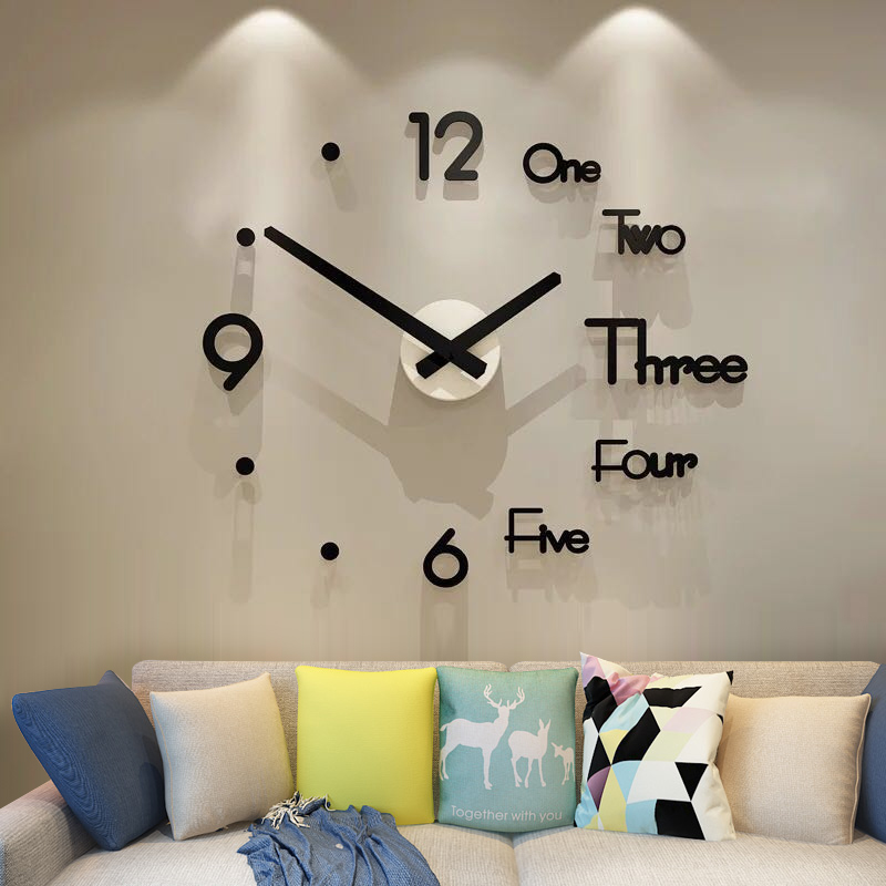 MEISD brand Free Shipping DIY Large Quartz Wall Clock Modern Design 3D Wall Sticker Watch Silent FOR Living Room Home Decor(China)