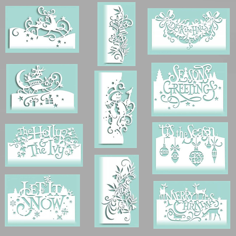 11 Styles <font><b>Merry</b></font> <font><b>Christmas</b></font> Metal <font><b>Cutting</b></font> <font><b>Die</b></font> Decoration Scrapbooking Embossing Stencil Card <font><b>Die</b></font> For DIY Photo Album Greeting Card image