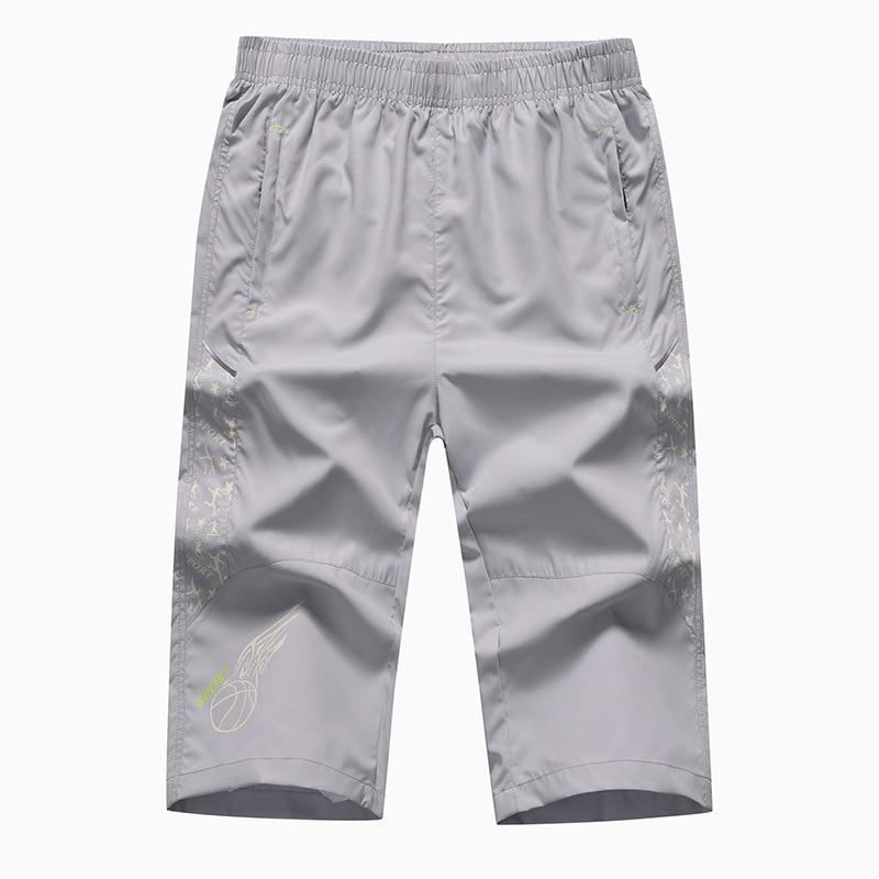 6836 Men Casual Capri Pants Shorts Solid Color Ultra-Large Size Men'S Wear Sports Straight-Cut Shorts Tide Men's