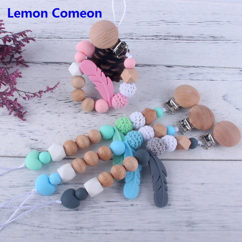 Baby Wooden Pacifier Clip Feather Teething Beads Toddler Girl Clothes Clip Chain For Nipple Teether Crochet Beads Baby Supplies