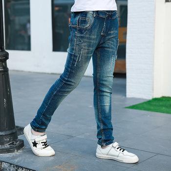 Jeansy dziecięce wiosna jesień 2020 nowe duże spodnie chłopięce modne spodnie chłopięce nastolatki dziecięce casual dla chłopców długie spodnie dżinsowe tanie i dobre opinie Na co dzień Pasuje prawda na wymiar weź swój normalny rozmiar Elastyczny pas Chłopcy Stałe REGULAR Medium